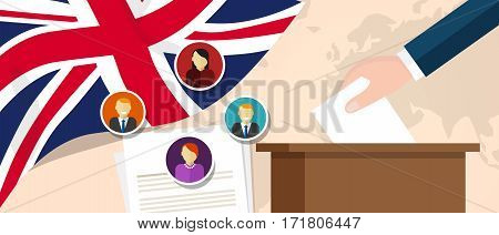 UK United Kingdom England democracy political process selecting president or parliament member with election and referendum freedom to vote vector