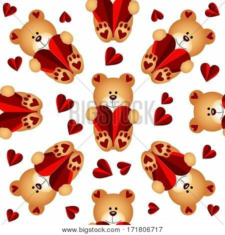 Scalable vectorial image representing a seamless pattern with teddy bears and hearts, isolated on white.