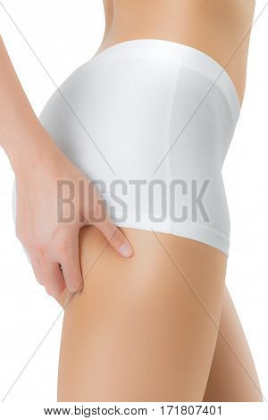 woman squeezing buttock and showing no cellulite in her perfectly shaped body lose weight concept Isolated on white background.