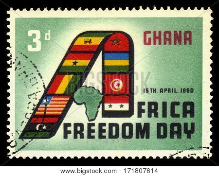 Ghana - circa 1960: A stamp printed in Ghana shows african countries flags forming