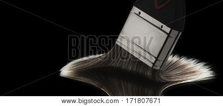 Paint Brush Head Gliding On Smooth Reflective Surface