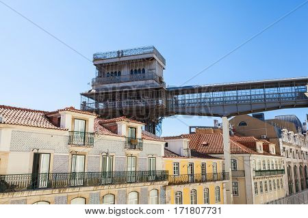 Santa Justa elevator in Lisbon, Portugal. The elevator was built to connect Baixa Pombalina and Chiado.
