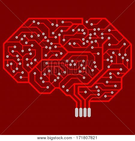 Circuit board with a human brain shape. Abstract electronic board.