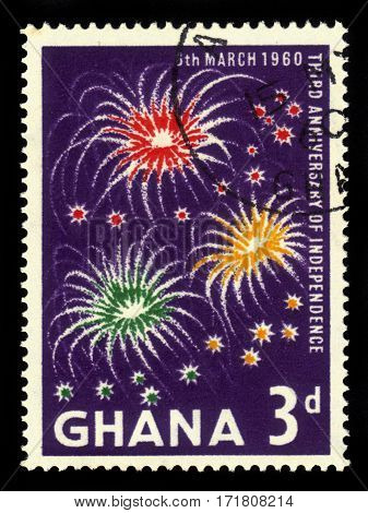 Ghana - circa 1960: A stamp printed in Ghana shows three clusters of fireworks, 3rd anniversary of Independence, circa 1960