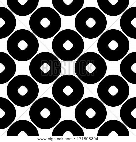 Vector seamless pattern, abstract monochrome geometric background, perforated circles. Simple figures, repeat tiles. Stylish modern texture. Black & white colors. Design for prints, decoration, fabric, textile, furniture