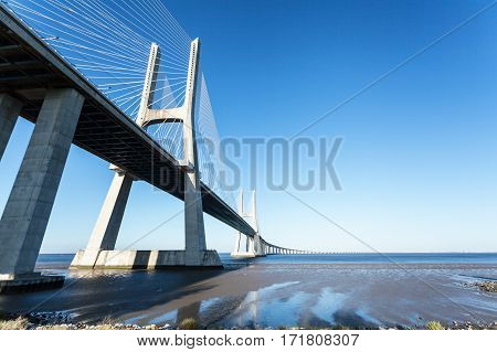 Vasco da Gama bridge in Lisbon, Portugal. Photo afternoon on a sunny day