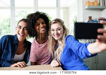 Cheerful young female friends taking selfie with mobile phone by table at home