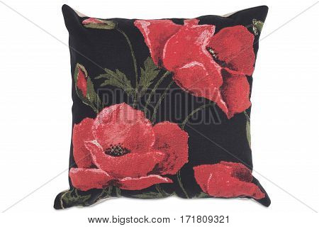 Cut Out Of Square Pillow With Red Flower Design