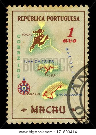 Portuguese Macau - circa 1956: A stamp printed in Portugal shows map of Macao, portuguese colony, circa 1956
