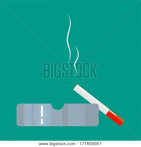 Ashtray with smoldering cigarette cartoon vector illustration.