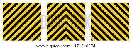 set warning striped rectangular background, yellow and black stripes on the diagonal, a warning to be careful - the potential danger vector template sign