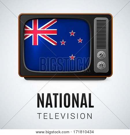 Vintage TV and Flag of New Zealand as Symbol National Television. Tele Receiver with flag colors