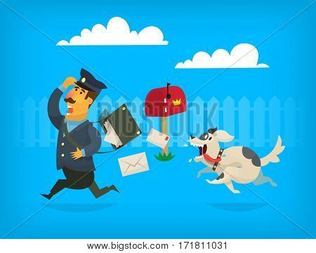 Dog is chasing a mailman along the fence. The mailman is loosing letters from postman bag