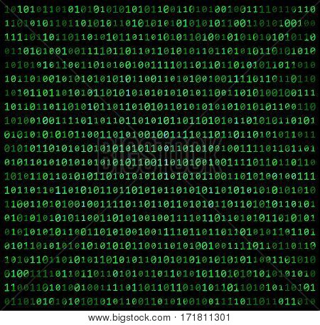 Binary Code Zero One Matrix Green Background Beautiful Banner Wallpaper