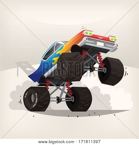 Poster illustration with cartoon monster truck standing on back wheels exhausting fume