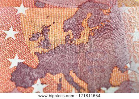Ten euro note detail map of Europe Close up