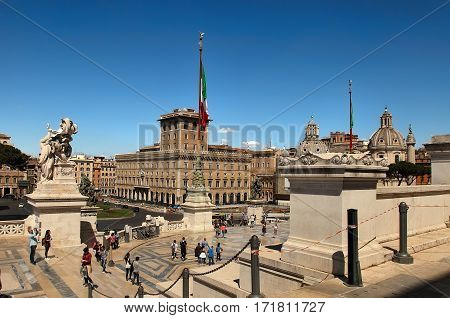 Rome Italy - APRI 11 2016 : Vittorio Emanuele II the museum complex on the Piazza Venezia in Rome Italy