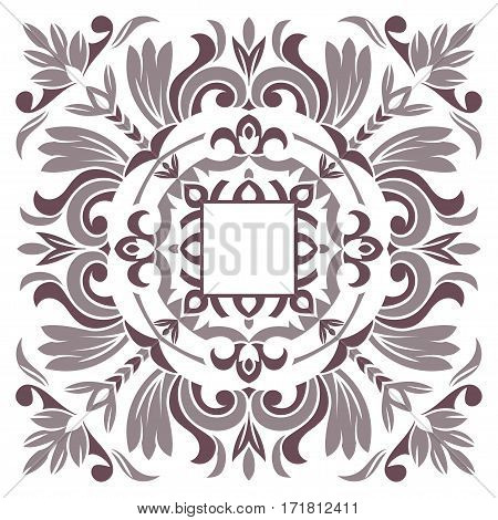 Hand drawing pattern for tile in dark brown gray black and white colors. Italian majolica style. Vector illustration. The best for your design textiles posters