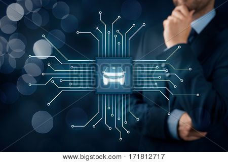 Intelligent car, intelligent vehicle and smart cars concept. Symbol of the car and wireless communication. Abstract chip with symbol of the car connected with abstract devices represented by points.