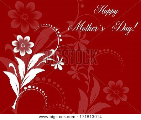 Red Floral Greeting card to Mother's Day. Holiday background with white paper cuted Flowers. Trendy Design Template. Raster Illustration