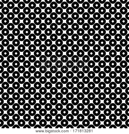 Vector seamless pattern, abstract monochrome geometric background, perforated circles. Simple figures, repeat tiles. Stylish modern texture. Black & white. Design for prints, decoration, textile, furniture