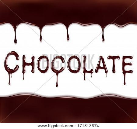 Word written with chocolate syrup isolated on white background