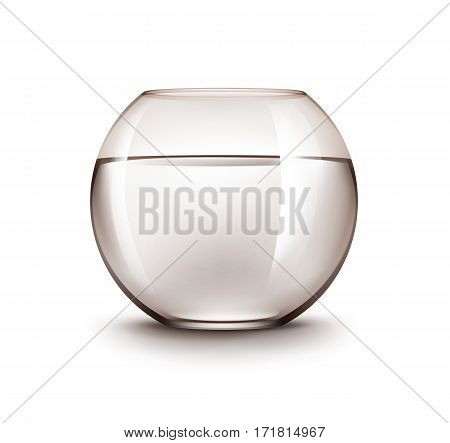 Vector Realistic Brown Transparent Shiny Glass Fishbowl Aquarium with Water without Fish Isolated on White Background