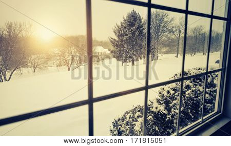 New England snow storm with weak winter sun