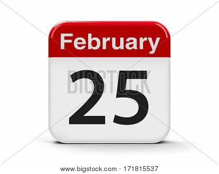 Calendar web button - The Twenty Fifth of February - National Day in Kuwait three-dimensional rendering 3D illustration