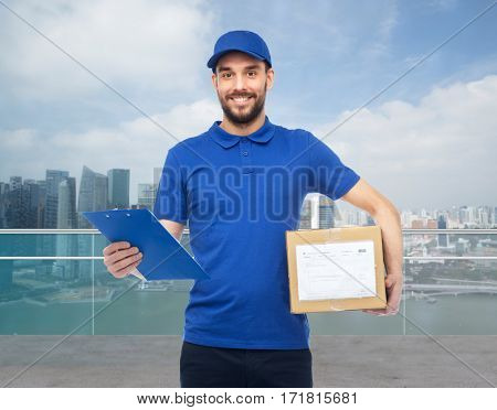 delivery service, mail, logistics, people and shipping concept - happy man with parcel box and clipboard over singapore city marina bay background poster