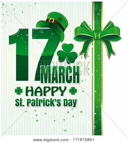 Background for Happy St. Patrick's Day celebration. 17 March. Happy St. Patrick's Day. Festive background with green ribbon and bow. Editable vector background