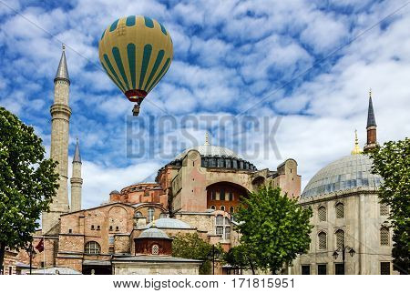 Istanbul, Turkey - Jan 4, 2017: Byzantine architecture of the Hagia Sophia famous landmark and world wonder in Istanbul