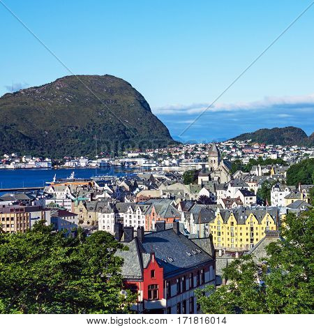 View on Norwegian town Alesund from Aksla mountain.