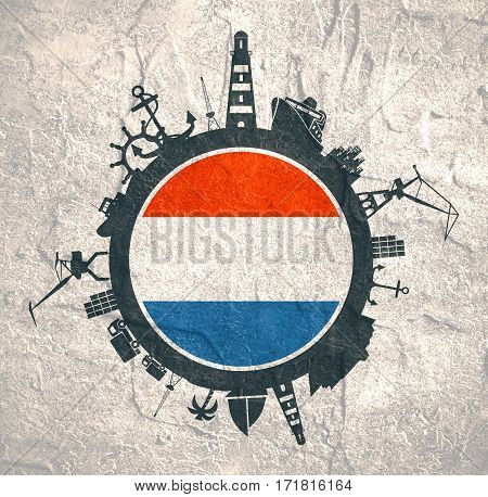 Circle with sea shipping and travel relative silhouettes. Concrete texture. Objects located around the circle. Industrial design background. Netherlands flag in the center.