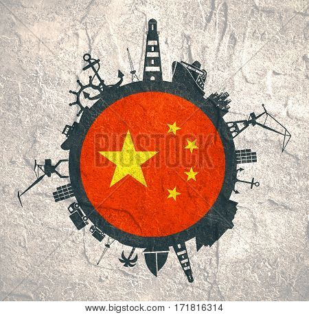 Circle with sea shipping and travel relative silhouettes. Concrete texture. Objects located around the circle. Industrial design background. China flag in the center.