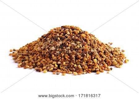 Pile of bee pollen isolated on white, closeup