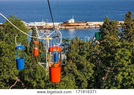 Yalta, Crimea - Jan 6, 2017: Cable car in Yalta, Crimea, Russia.