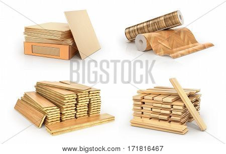 Floor types coating. Flooring Installation. Set of pieces of different floor coating. Parquet wooden plank tiles vinil. 3d illustration