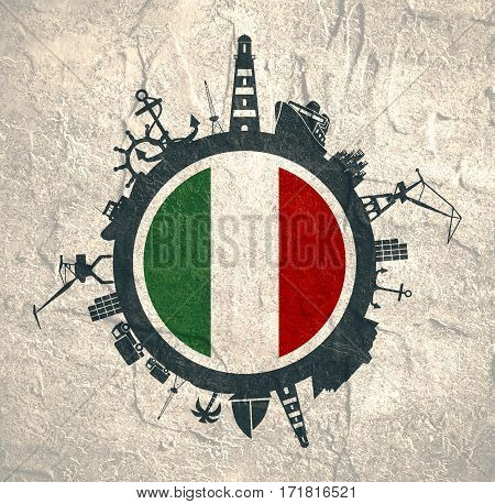 Circle with sea shipping and travel relative silhouettes. Concrete texture. Objects located around the circle. Industrial design background. Italy flag in the center.