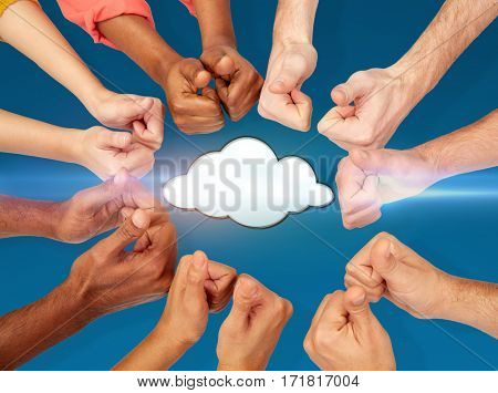 computing, tachnology, data and people concept  - hands showing thumbs up over blue background with cloud icon