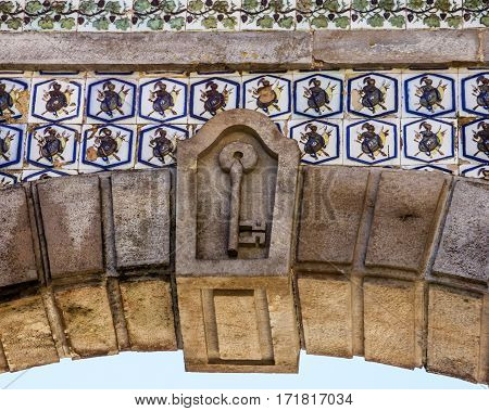 Gate element of Palace Quinta da Regaleira, Sintra, Portugal. Palace with symbols related to alchemy Masonry the Knights Templar and the Rosicrucians