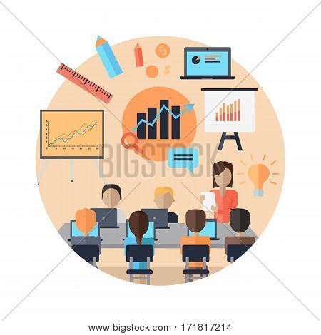 Woman making a presentation near whiteboard with infographics before an audience. Audience at the conference hall. Business seminar, conference meeting, office training, business coaching concept