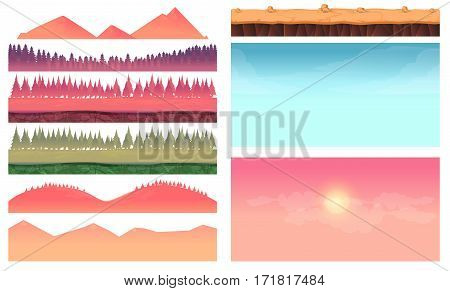 Cartoon nature landscape elements set, platform, trees, sky, hills and forest clip art, isolated on white, 2d game application. Vector Illustration for your project