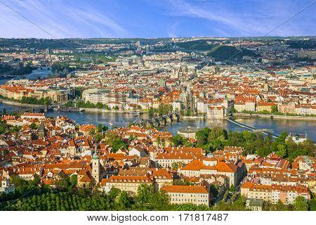 Prague panoramic view, Charles bridge, Czech Republic. River Vltava