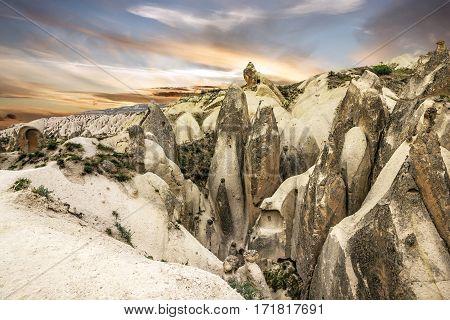 rock landscape in Goreme park, Cappadocia, Turkey.