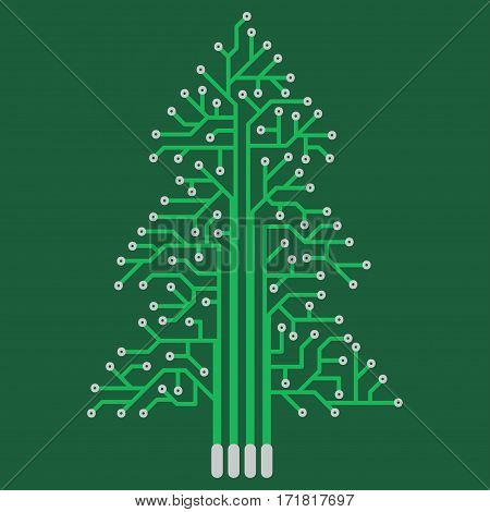 The electronic circuit in the form of Christmas tree. Festive decoration in the technical style.