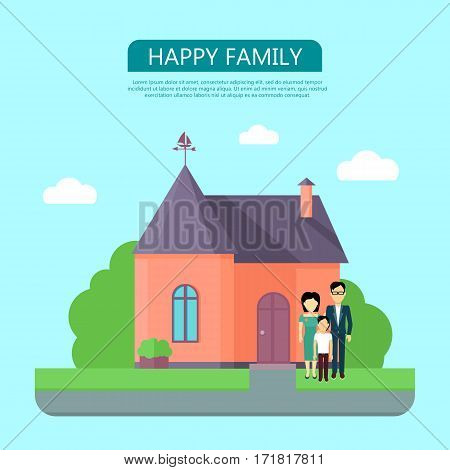 Happy family on the background of red house with purple roof. Home house in flat design style. Home, building, house exterior, real estate, family house, modern house. Website template.