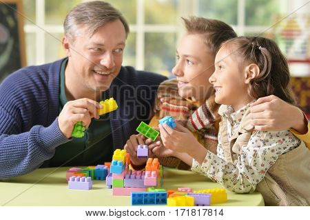 Portrait of a family playing constructor, father with kids