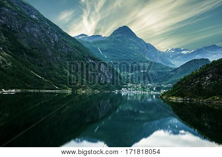 Sunset over sea and mountain Norway fjords