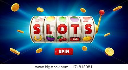 vector illustration of slots 3d element isolated on blue background with place for text casino object  icons gold coins button spin
